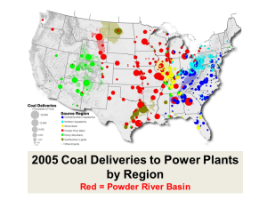 Coal Deliveries to Power Plants Throughout the US