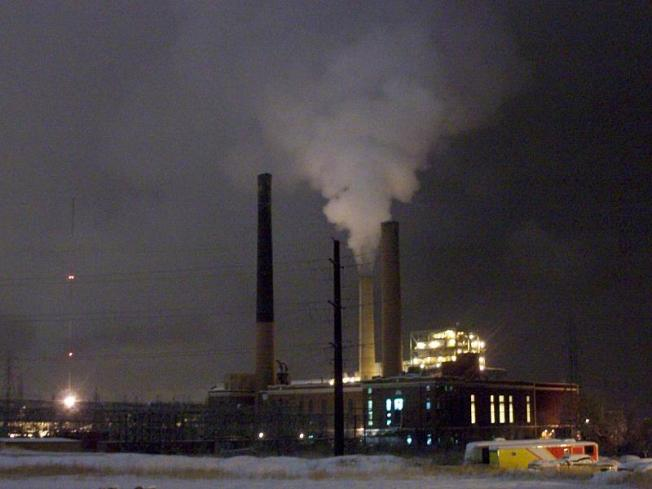 Visible emission from Valmont Coal Plant at night, Boulder, Colorado
