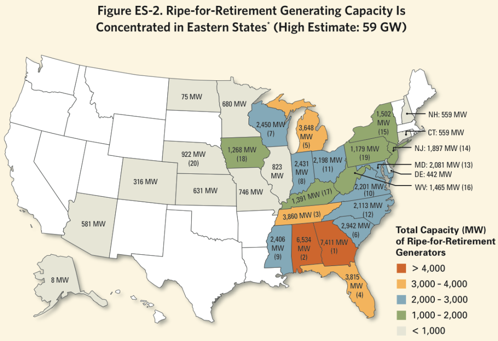 Ripe-for-Retirement Generating Capacity Is Concentrated in Eastern States