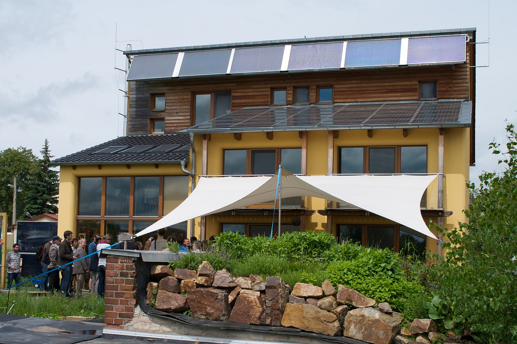 A beautifully finished Passivhaus building in Dresden, Germany.  With all the PV on the roof, this is almost certainly a net positive energy building.