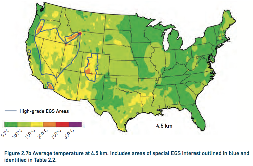 Average temperature at 4.5 km depth. Includes areas of special EGS interest outlined in blue. Much of the Colorado Rockies is included. From the 2006 MIT study.